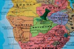 Map of Botswana with a green pushpin stuck. Map of Botswana with a pushpin stuck Royalty Free Stock Photography