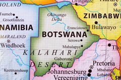 Map of Botswana. Its capital city is Gaborone stock photo