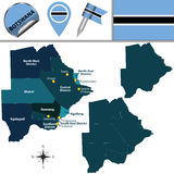 Map of Botswana with Named Districts Stock Photo