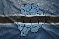 Botswana Map. Map of Botswana in National flag colors Stock Images
