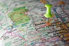 Boulder, Colorado. A map of Boulder, Colorado marked with a push pin royalty free stock image
