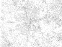 Map of Bradford, streets and houses, England. UK. Map of Bradford is in the Metropolitan Borough of the City of Bradford in West Yorkshire, satellite view of the Royalty Free Stock Image