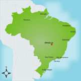 Map Brazil. A stylized map of Brazil showing different cities and nearby countries vector illustration