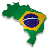 Map of Brazil. 3D Map of Brazil with flag Royalty Free Stock Image