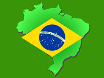 Map of Brazil. And their flag illustration Royalty Free Stock Photo