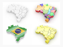 Map of Brazil. 3d. Map of Brazil on white background. 3d Stock Image