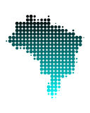 Map of Brazil. In turquoise dots Stock Illustration
