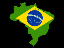 Map of Brazil and Brazilian flag Royalty Free Stock Photos