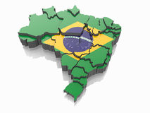 Map of Brazil in Brazilian flag colors. 3d Royalty Free Stock Photography
