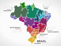 Map of Brazil. Concept infographic template with states made out of puzzle pieces royalty free illustration
