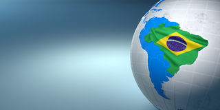 Map of the Brazil on Earth in the national colors Royalty Free Stock Photo