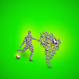 Map of Brazil with football player and ball. Easy all editable Royalty Free Stock Photography