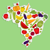 Map of Brazil with fruits Stock Photos