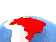 Map of Brazil on globe. With embossed continents. 3D illustration Stock Image