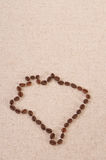 Map of Brazil made out of coffee beans. On canvas Royalty Free Stock Photos