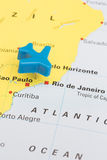 Map Of Brazil With Model Plane Over Rio De Janeiro Royalty Free Stock Photography