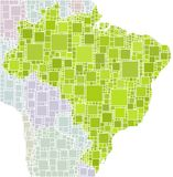Map of Brazil in a mosaic of green squares Stock Images