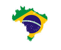 Map of Brazil with national flag isolated Royalty Free Stock Images