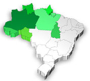 Map of Brazil with north west region Royalty Free Stock Images