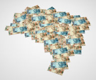 Map of Brazil with notes 3D. Map of Brazil with notes of 50 and 100 reais 3D Royalty Free Stock Images