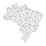 Map of Brazil from polygonal black lines, dots of  illustration Royalty Free Stock Photography