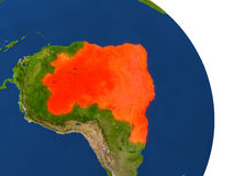 Map of Brazil in red. Map of Brazil with surrounding region on planet Earth. 3D illustration with highly detailed planet surface. Elements of this image Royalty Free Stock Photography