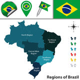 Map of Brazil with Regions Royalty Free Stock Images