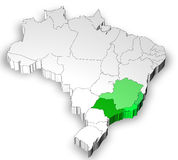 Map of Brazil with south west region Royalty Free Stock Photos