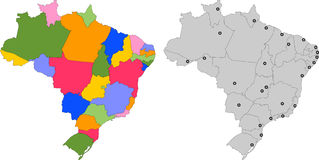 Map of Brazil with states splited 27 illustration Stock Image