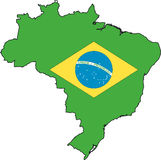 Map Brazil-Vector. Illustration Vector of a Map and Flag from Brazil Royalty Free Stock Photos