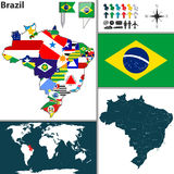 Map of Brazil Stock Photography