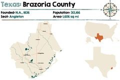 Map of Brazoria county in Texas. Detailed map of Brazoria county in Texas, USA Stock Images