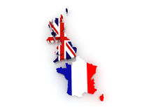 Map of Britain and France. Royalty Free Stock Photography