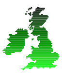 Map of the British Isles. In reen lines Vector Illustration