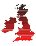 Map of the British Isles. In red lines Vector Illustration