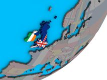 Map of British Isles with flags on globe. British Isles with national flags on blue political 3D globe. 3D illustration vector illustration