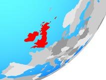 Map of British Isles on globe. British Isles on blue political globe. 3D illustration royalty free illustration