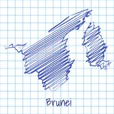 Map of Brunei, blue sketch abstract background royalty free illustration
