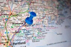 Brunswick, Maine. A map of Brunswick, Maine marked with a push pin stock image