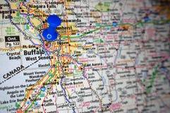 Buffalo, New York. A map of Buffalo, New York marked with a push pin royalty free stock image