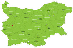 Map of Bulgaria. Bulgaria map designed in illustration with provinces colored in green colors and with the main cities. Neighbouring countries  are in an Royalty Free Stock Image