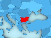 Map of Bulgaria. Bulgaria in red on blue political map. 3D illustration Royalty Free Stock Image