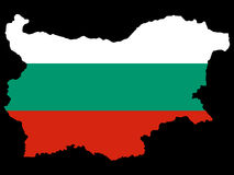 Map of Bulgaria and Bulgarian flag Stock Photography