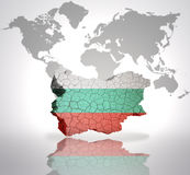 Map of  Bulgaria. Map of Bulgaria with Bulgarian Flag on a world map background Royalty Free Stock Images