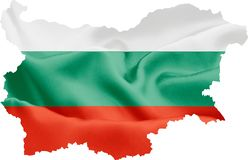 Bulgaria Map with Flag. Bulgaria map with waving flag on satin texture isolated on white royalty free stock photography