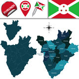Map of Burundi with Named Provinces Stock Images