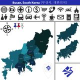 Map of Busan with Districts, South Korea. Vector map of Busan, South Korea with named districts and travel icons. Districts are signed in original korean vector illustration