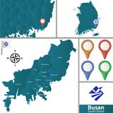 Map of Busan with Districts. Vector map of Busan with named districts, pins icons and locations on South Korean map stock illustration