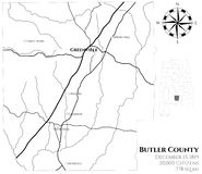 Map of Butler County in Alabama. Large and detailed map of Butler county in Alabama, USA vector illustration