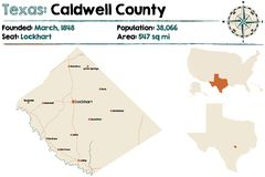 Map of Caldwell county in Texas. Detailed map of Caldwell county in Texas, USA Stock Photo